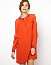 FRENCH CONNECTION FCUK ROSE EMBELLISHED BEADED COCKTAIL PARTY SHIFT TUNIC DRESS