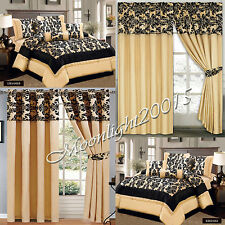 Luxury 7 Piece (Gold) Flock, Comforter Set,Bedspread with matching Curtains