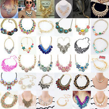 Hot Women Jewelry Pendant Crystal Choker Chunky Bib Statement Necklace Flower