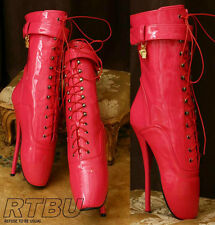 "18cm 7"" Ballet Pointe Fetish Shiny Patent Fuchsia Brigh Pink Laceup Calf Boot"