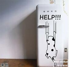 Wall stickers child kitchen cabinet furniture glass decals Help Dog Funny Decor