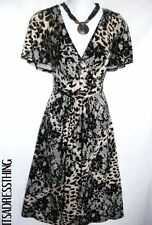 LADIES ANIMAL PRINT DRESS EMPIRE LINE DRESS BROWN UK SIZE 18.26 NEW