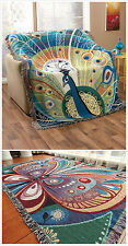 """Blanket Cotton Throw Peacock 50""""x62"""" Butterfly Fringed TAPESTRY Sofa Chair"""