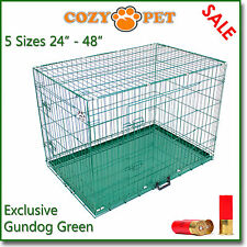 Dog Cage Cozy Pet Puppy Crate Gundog Green  5 Sizes Travel Crate Cat