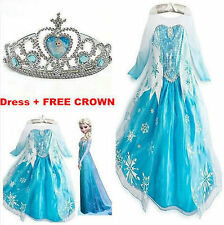 Disney FROZEN Princess Anna Elsa Queen Girls Cosplay Costume Party Dress 2-8T