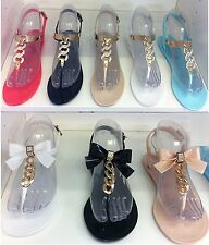 New Womens Ladies Flat Diamante Jelly Sandals Girls Summer Flip Flop Beach Shoes