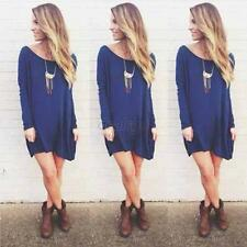 Sexy Women Long Sleeve Blouse Tops T-shirt Loose Short Mini Shirt Dress Blue D58