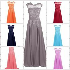 Long Lace Chiffon Bridesmaid Formal Gown Ball Party Cocktail Evening Prom Dress