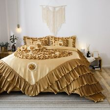 Tache 6 PC New Gold Floral Solid Luxury Caramel Latte Ruffle Comforter Quilt Set