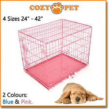 Dog Cage in Pink and Blue Cozy Pet Dog Crate Puppy 3 Sizes Folding Cat Crate