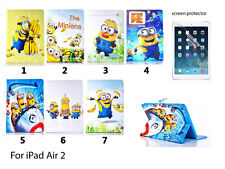 NEW Despicable Minion PU Leather Flip Stand Cover Case for Apple iPad Air 2