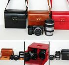 Black or Red leather case bag for Sony Alpha A5100 A5000 16-50 + 55-210mm 2 lens