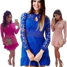 Women Summer Sexy Lace Long Sleeve Casual Party Evening Cocktail Short Dress D38