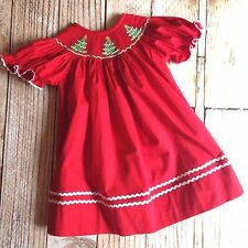 Smocked Christmas tree bishop dress 3m - 5T *Red Holiday boutique*