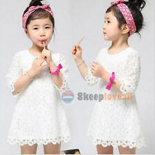 Kids Baby Girls White Princess Lace Flower Dress Party Formal Skirt For 2-8Year