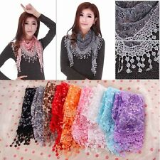 Women Lace Sheer Rose Floral Print Triangle Hollow Veil Scarf Shawl Wrap Tassel