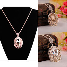 Fashion Women's Crystal Pendant Long Chain Statement Sweater Necklace Jewelry