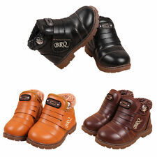 New Kids Children Girls Boys Snow Ankle Boots Leather Winter Warm Thicken Shoes