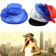For Women Dress Church Wedding Kentucky Derby Sheer Wide Brim 4Color Organza Hat