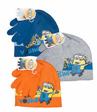 Despicable Me Minions Winter Hat & Gloves Set Boys Girls Kids 3 Colours Age 2-8