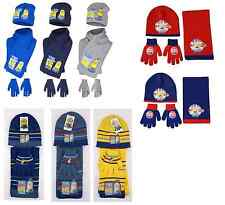 Boys Kids Minions Winter Hat, Gloves And Scarf 3 Piece Set 3 - 10 Years