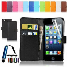 Leather Flip Stand Wallet Case Cover For iPhone 4S 5S+ Screen Protector+Stylus