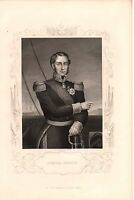 Antique Victorian Engraving Crimean War Vintage c1860: Admiral Hamelin