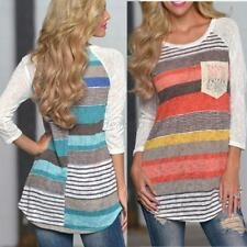 Fashion Women's Long Sleeve Loose T-shirts Striped Tops Casual Shirt Tops Blouse
