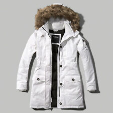NWT Abercrombie&Fitch Women's A&F Arctic Parka White Winter Coat Jacket XS/S