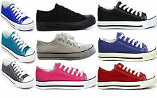 Ladies Womens Flat Girls Plimsolls Pumps Trainers Casual Lace Up Canvas Shoes UK