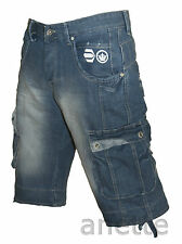 CROSSHATCH BNWT Cargo Style Mens Denim Shorts Stone Wash 8 Pockets Size W32""