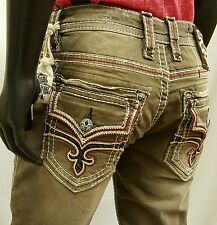 ROCK REVIVAL Mens Alton J5 Straight Leg Brown Jeans Thick Red Stitch on Pockets