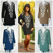 Ladies Fall BOHO Embroidered Soft Knit Long Tunic Top S M L XL 1X 2X 3X 4 Colors