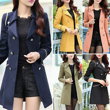 New Women Ladies Fashion Double Breasted Winter Long Trench Coat Outwear