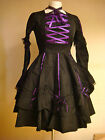 Raven Steampunk Victorian Lolita womens black purple trim dress 6666