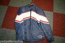 BLUE WHITE RED MEN AND LADIES LEATHER MOTORCYCLE MOTORBIKE JACKET VARIOUS SIZES