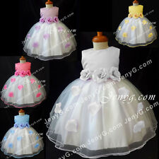 #TF3 Baby Flower Girl Christening Gowns Dresses 0 3 6 9 12 18 24 Months 2T 3T 4T