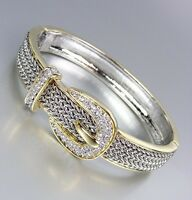 Designer Style Balinese Silver Wheat Gold Crystals Buckle Hinged Bangle Bracelet