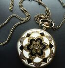 Vintage Style Antique Gold Enamel Inlay Fob Pocket Watch Necklace