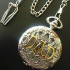 """Mens Vintage Style Silver """"Dad"""" Pocket Fob Watch with Chain"""