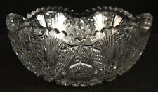 ANTIQUE AMERICAN BRILLIANT CUT GLASS BOWL CRYSTAL CANDY NUT OLD SIGNED BERGEN