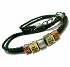 1cm Vintage 3 Tone Alloy with Black Weaving Leather Necklace Chain Bands 18.5""