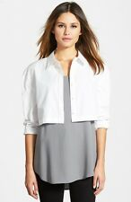 THE FISHER PROJECT by EILEEN FISHER Classic Collar Crop Shirt top white sz S NEW