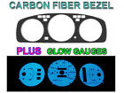 92-95 HONDA CIVIC AUTO NO TACH CARBON FIBER BEZEL + BLUE/GREEN GLOW GAUGE FACE