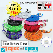 Flat Strong Braided LIGHTNING USB Data Sync Charger Cable for iPhone 6 5 5S iPad