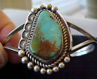 Native American TURQUOISE & STERLING SILVER BRACELET JEWELRY L NEZ