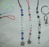 Personalised mobile phone/ ds/ bag/ ipod charm/ keyring Various colours