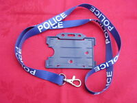 POLICE,SO19,CO19,N/Blue/White Neck Lanyard/Metal Clip With ID Card/Badge Holder