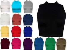 Ladies Plain Polo Neck Womens Sleeveless Stretch Turtle Jersey Basics Top 8-14