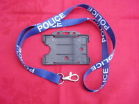 POLICE,SO19,CO19 -N/Blue/White Neck Lanyard/Metal Clip+ID Pass Card/Badge Holder